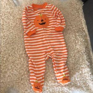 Halloween Pumpkin fleece sleeper